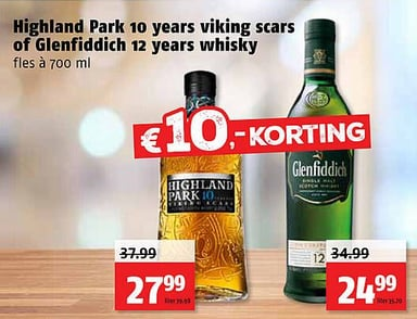Highland Park 10 years viking scars of Glenfiddich 12 years whisky