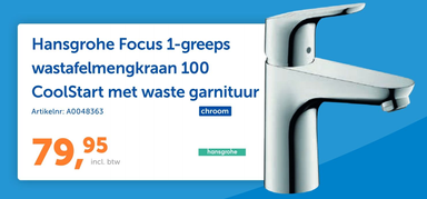 Hansgrohe Focus 1-greeps wastafelmengkraan 100 CoolStart met waste garnituur