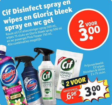 Cif Disinfect spray en wipes en Glorix bleek spray en wc gel
