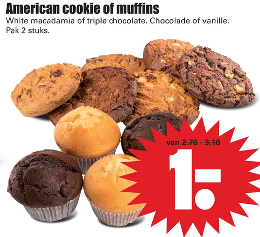 American cookie of muffins