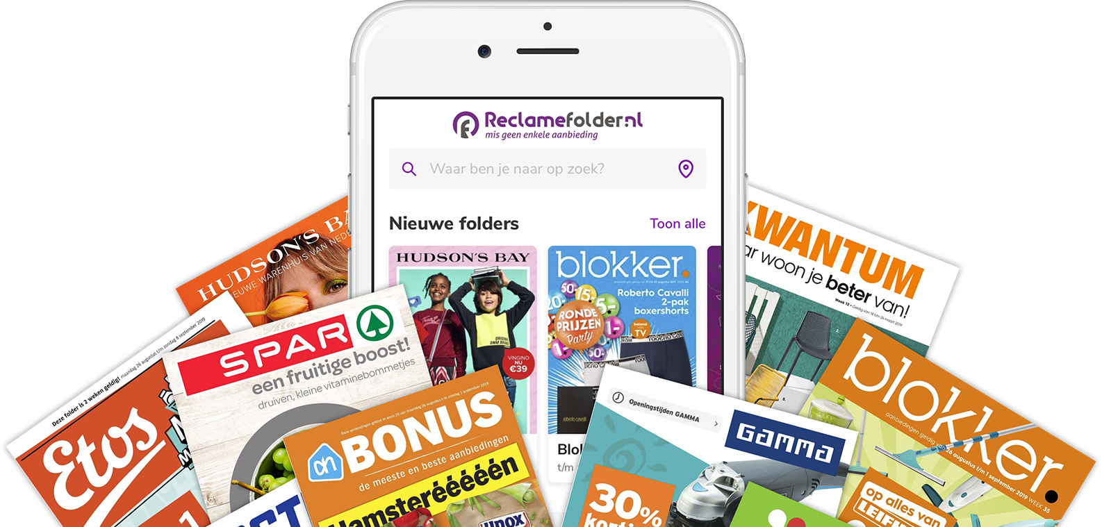 Smartphone met de Reclamefolder.nl App