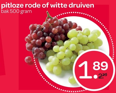 Pitloze rode of witte druiven