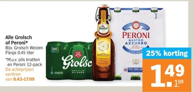 Alle Grolsch of Peroni