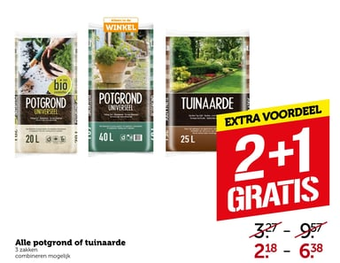 Alle potgrond of tuinaarde