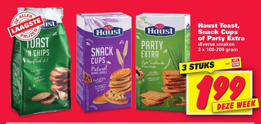 Haust Toast, Snack Cups of Party Extra