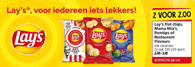 Lay's Flat chips, Mama Mia's, Pomtips of Restaurant Flavours