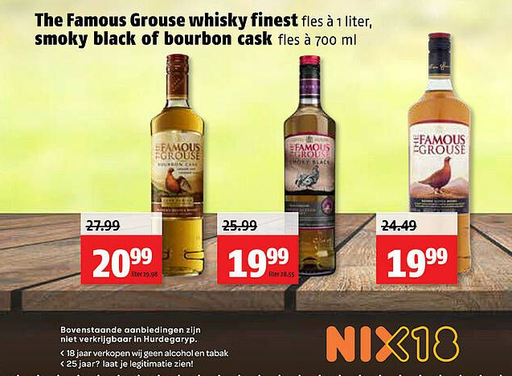 The Famous Grouse whisky finest of smoky black of bourbon cask