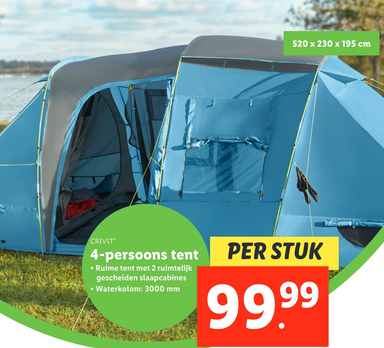 CRIVIT 4-persoons tent