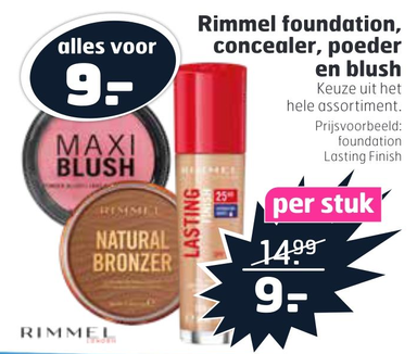 Rimmel foundation, concealer, poeder en blush