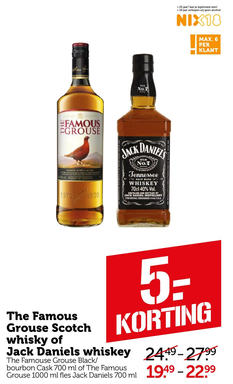The Famous Grouse Scotch whisky of Jack Daniels whiskey
