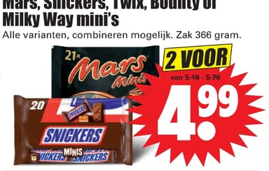 Mars, Snickers, Twix, Bounty of Milky Way mini's