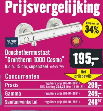 """Douchethermostaat """"Grohtherm 1000 Cosmo'"""