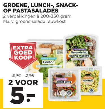 Groene, lunch-, snack- of pastasalades
