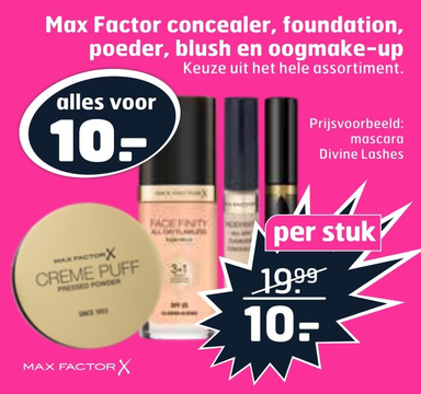 Max Factor concealer, foundation, poeder, blush en oogmake-up