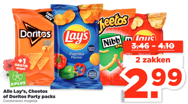 Alle Lay's, Cheetos of Doritos Party packs