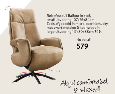 Relaxfauteuil Balfour in stof