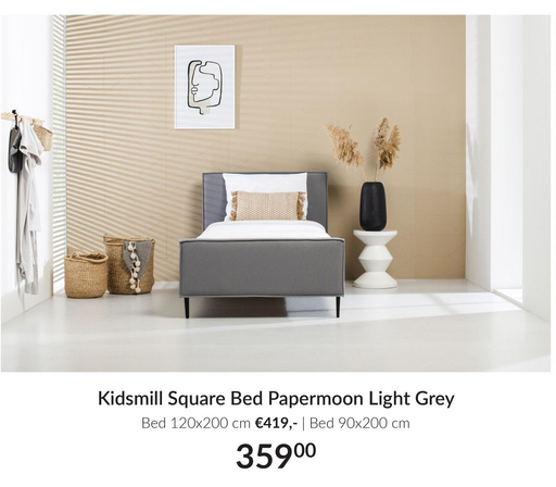 Kidsmill Square Bed Papermoon Light Grey