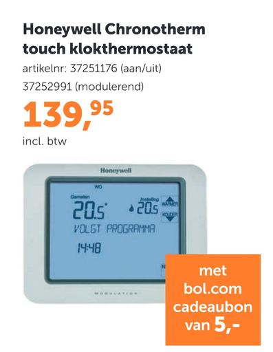 Honeywell Chronotherm touch klokthermostaat