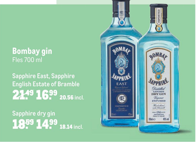 Bombay gin Sapphire East, Sapphire of Sapphire dry gin