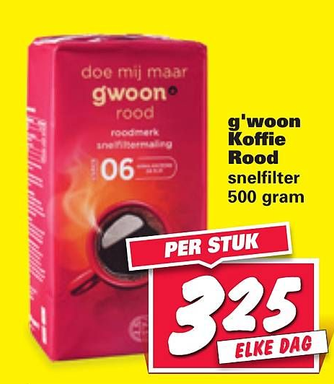 g'woon Koffie Rood