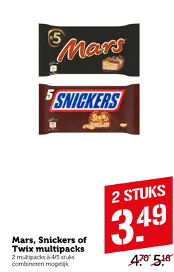 Mars, Snickers of Twix multipacks
