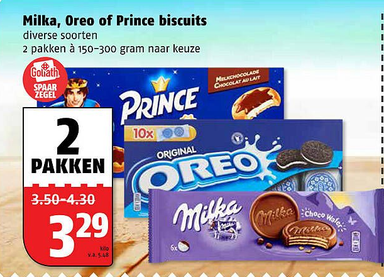 Milka, Oreo of Prince biscuits