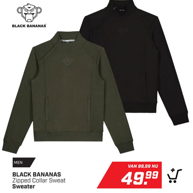 BLACK BANANAS Zipped Collar Sweat Sweater