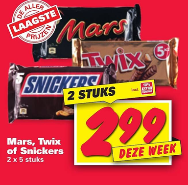 Mars, Twix of Snickers