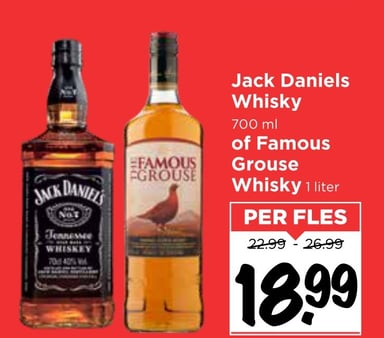 Jack Daniels of Famous Grouse Whisky