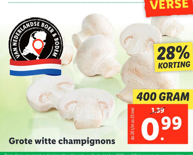 Grote witte champignons