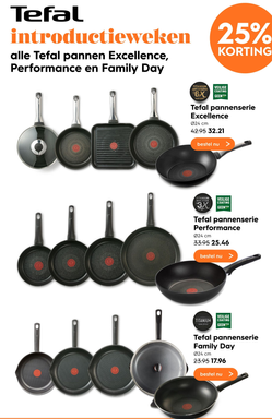Tefal pannen Excellence, Performance en Family