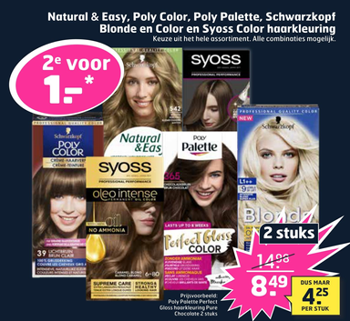 Natural & Easy, Poly Color, Poly Palette, Schwarzkopf Blonde en Color en Syoss Color haarkleuring