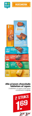 Alle g'woon chocolade tabletten of repen