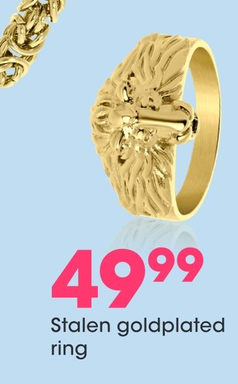 Stalen goldplated ring